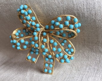 1960s Bow Shaped Brooch with Faux Turquoise