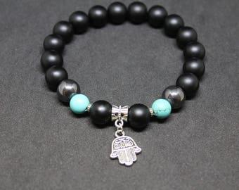 Bracelet Hamsa-hand Miriam-hand Fatima-palm Hamehs-bracelet amulet-black matt onyx-turquoise-Judaism-Hinduism-Islam