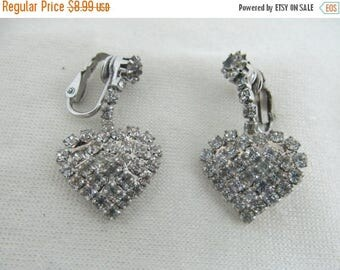 ON SALE 1960s-70s Rhinestone Dangling Heart Earrings Item k #193
