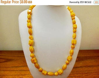 ON SALE Vintage Mustard Yellow Plastic Beaded Necklace Item K # 2054