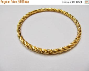 ON SALE Vintage Gold Tone Twisted Bangle Bracelet Item K # 331