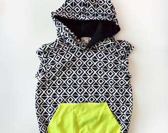 Tribal Diamond Beach Infant/Toddler Hoodie with lined hood and solid color kangaroo pocket on front