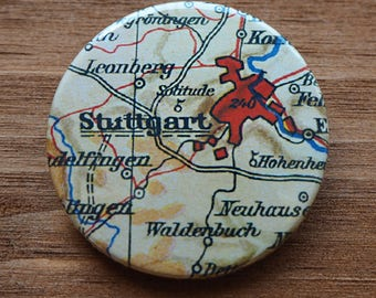 Pinback Button, Germany, Stuttgart, Ø 1.5 Inch Badge, Atlas, Travel, vintage, fun, typography, whimsical