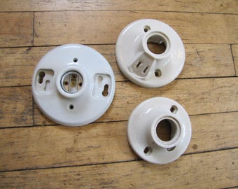 Set of 3 Salvaged Porclain Bathroom Sconce Light Fixtures, Light Fixtures, Fixtures, Restoration, Lamp, Light, Porcelain, Bathroom, Set A