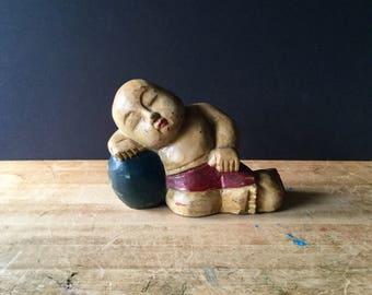 Vintage Baby Buddha Sculpture, Terracotta Clay Buddha, Meditating Buddha, Painted Buddha, Sleeping Buddha, Serenity Buddha, Garden Art