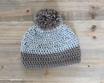Little Boy Pom Pom Hat, baby boy pom hat, gray and brown beanie