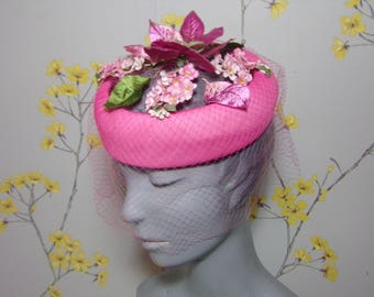 Vintage Pink Floral Open Crown Hat Garden Hat Veiled Hat Pink Hat Veil Floral Hat Wedding Guest Garden Party Hat