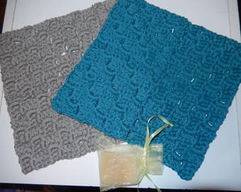 set of 2 crochet cotton wash cloths, crochet face cloths, cotton dish cloths teal and grey with Lemon Myrtle homemade soap