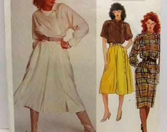 Vintage Vogue Paris Original Pattern 2855 Claude Montana Culottes Top and Dress Misses Size 14