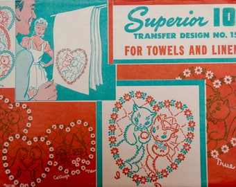 vintage transfer pattern for towels and linens, cats in love design, Superior brand