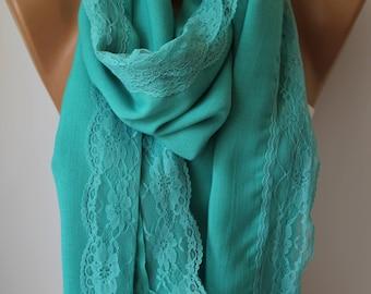 Turquoise Lace Elegance Shawl Scarf Wrap