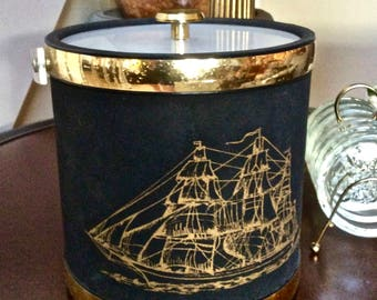 Nautical Ship Design Ice Bucket, Black and Gold with Lucite Handle and Lid, Nautical Barware