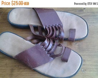 SALE Brown leather sandals made in Brazil 7.5