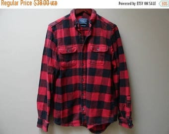 SALE Buffalo Plaid Shirt Red and Black Checkered Flannel L