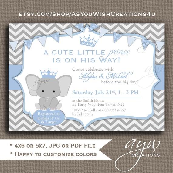 Elephant baby shower invitation boy prince baby shower invitations il570xn filmwisefo