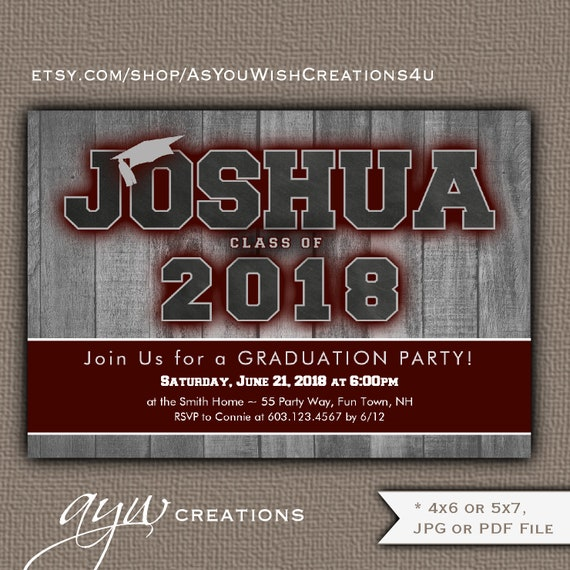 Maroon Graduation Invitation Boy Party On Wood