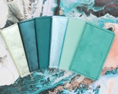 Natural leather credit card wallet. Business card case. Double credit card holder. Metallic leather wallet. Teal blue mint green metallic