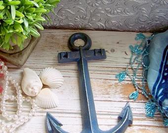 Navy Cast Iron Anchor, Metal Anchor, Anchor, Decorative Anchor, Nautical Decor, Nautical Wall Hanging, Nautical Anchor, Seaside Decor, Beach