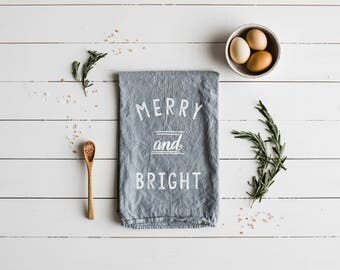 Merry and Bright Tea Towel • Modern Farmhouse Christmas Decor •Winter Holiday • Gray White Merry & Bright Towel Design • FREE SHIPPING