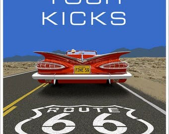Chevrolet Impala 1959 riding Route 66 poster