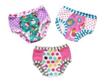 Custom Order Girls Knit Underwear set of 3, Girls Clothing, Knit Undies