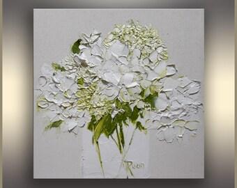 Floral Painting, White Hydrangea in Vase, Original Art, Oil Painting, Palette knife, Green,Flower Painting, Gift for her, girlfriend gift