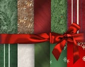 On Sale Christmas Digital Papers, Gift Wrapping, Digital Papers, 10  Digital Paper Pack  No 1198