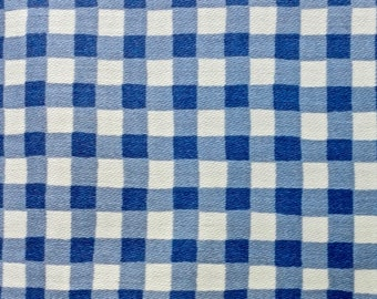 Vintage Blue and White Gingham Check Cotton Tablecloth 52 x 88