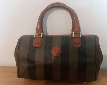 Lovely Vintage Auth FENDI Roma Italy Pequin Handbag Purse Brown Leather/Coated Canvas Italy