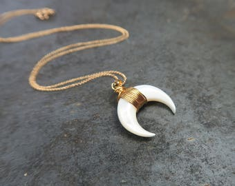 Crescent Necklace   Moon Necklace   Shell Necklace   Crescent Shell Necklace