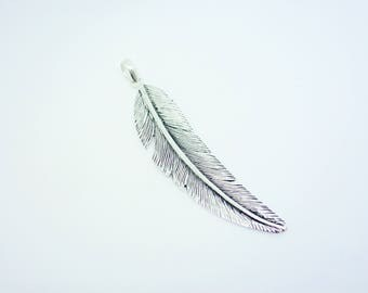 Sterling Silver Feather Pendant Silver Feather Necklace Pendant