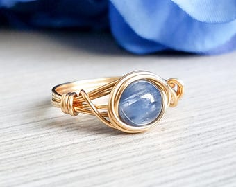 Blue Kyanite Ring, Gold Wire Wrapped Ring, Bridesmaid Jewelry, Blue Kyanite Jewelry