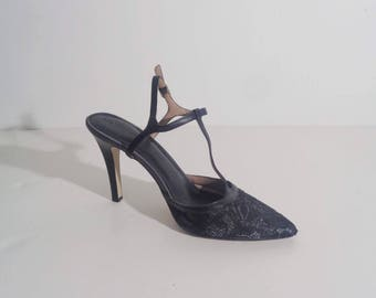90s LACE T-STRAP FLAPPER Ankle Strap Heels, 8.5 to 9