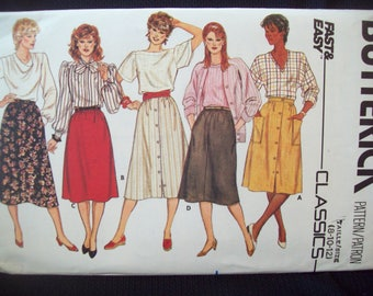 Front Button or Elastic Waist A-Line or Flared Skirt 1980s Butterick Classics Fast Easy Pattern 6305 Uncut Sizes 8-10-12