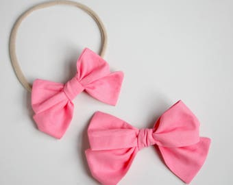 Pink Emmie Bow headband or clip