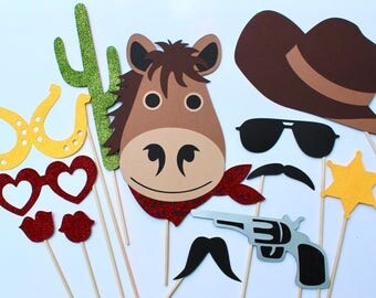 Western Photo Booth Props - Includes 12 Cowboy Themed Photo Booth Props, great for weddings, birthdays, parties and more