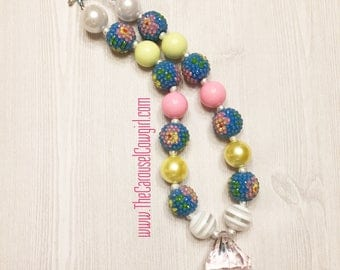 Hawaiian Princess Bubblegum Necklace, Pink Blue Chunky Necklace, Pink Blue Birthday Necklace, Hawaiian Photo Prop, Toddler Necklace