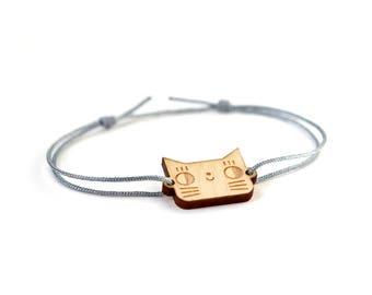 CUSTOM ORDER - buy only if you are Fan - Cat bracelet - 25 colors - cute kitten bangle - adjustable bracelet - lasercut maple wood