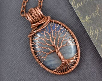 Blue Matte Labradorite Family Tree of life Necklace Pendant Reiki Healing Necklace Jewelry Copper Wire jewelry Anniversary Gift for Women