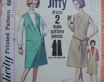 Vintage 1960s Simplicity sewing pattern 5536 misses jiffy one piece dress or jumper and vestee size 14