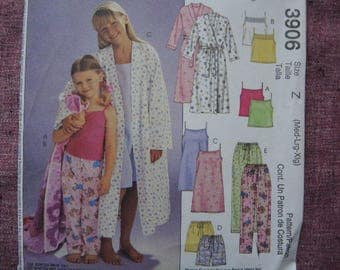 2000s McCalls sewing pattern 3906 girls robe nightgown and pajamas UNCUT size M-L-XL