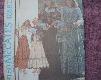 vintage 1970s McCalls sewing pattern 4658 misses blouse skirt or jumper apron and shawl UNCUT size 8