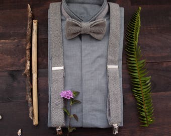 Gray Suspenders and Bow tie, Gray Braces Set, Groomsmen Suspenders Set, Wool bow tie and Suspenders, Gray Bow tie and Suspenders