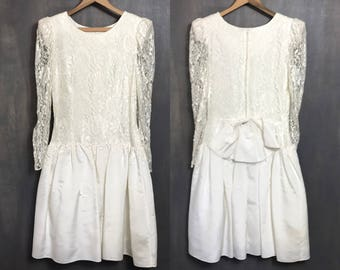 Vintage 80's Wedding Dress Ivory Wedding Dress White Lace Dress Low Waist Prom Dress 80's Dress 80's Party Dress Sheer Medium B1