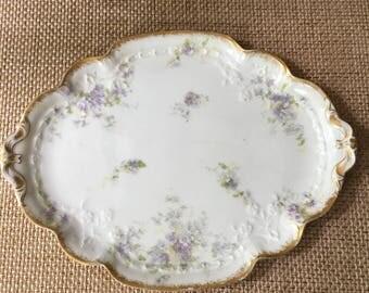 Stunning Antique Limoges France Vanity Tray Dresser Tray Violets