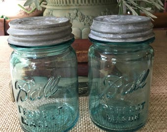 Set if 2 Ball Perfect Mason pint Jars Blue Canning Jars with Zinc and Milk Glass Lids