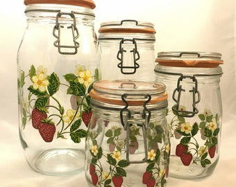 Vintage 1960s strawberry blossom canning, food storage jars by ARC France, red,