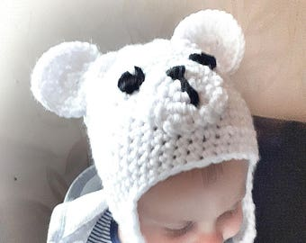 Baby bear hat, polar bear hat, hat with ears, knit hat for baby, white bear toddler hat