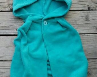 size 5 - Little Kid Fleece Hooded Cape in Aqua