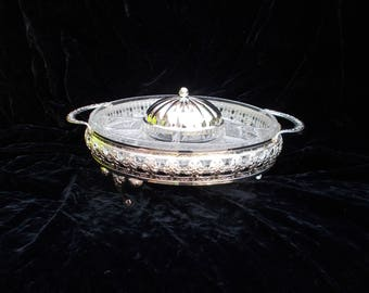 Vintage Mayell Silver Plated And Crystal Glass Hors D'oeuvres Dish